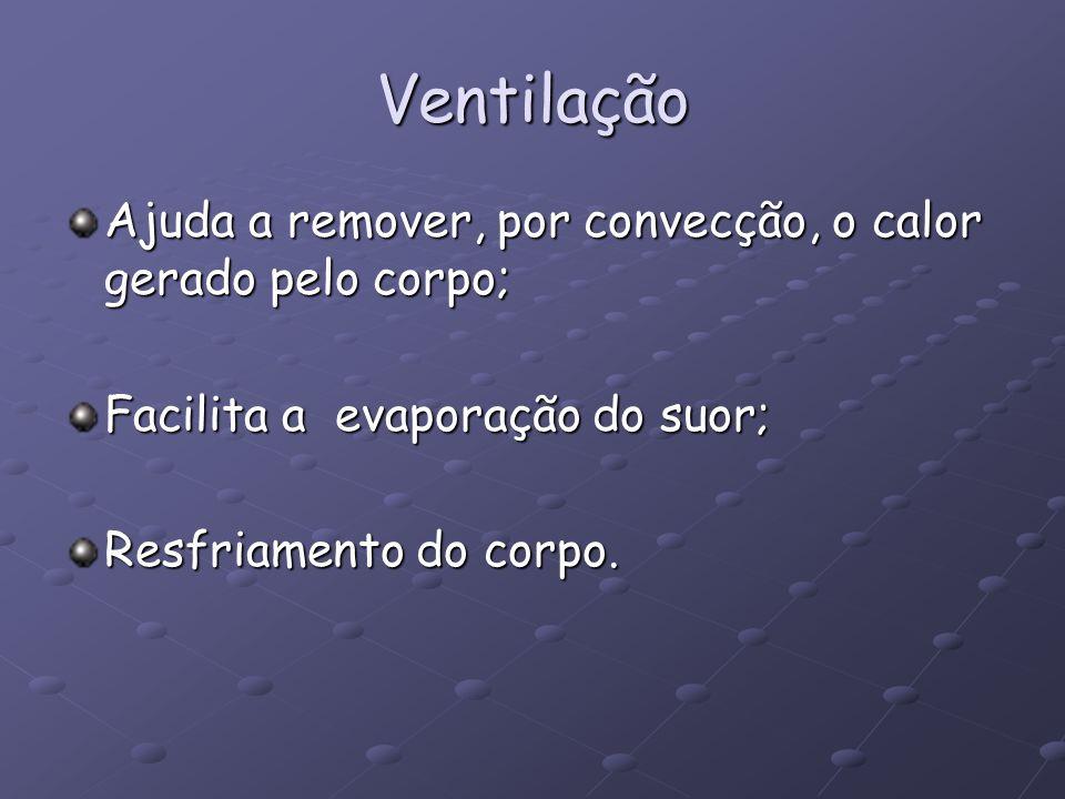 Ventilação Ajuda a remover, por convecção, o calor gerado pelo corpo;