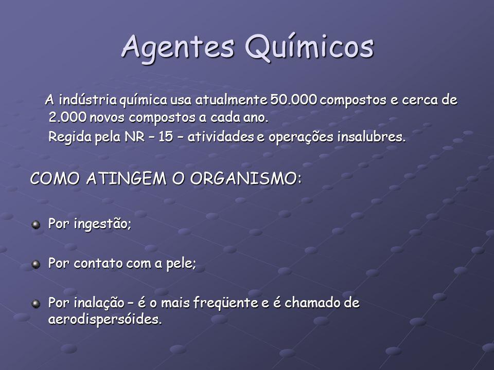 Agentes Químicos A indústria química usa atualmente 50.000 compostos e cerca de 2.000 novos compostos a cada ano.