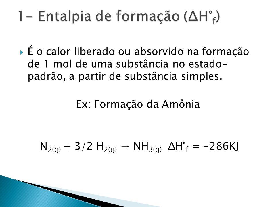 1- Entalpia de formação (ΔH°f)