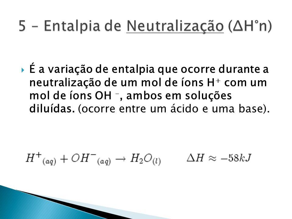 5 – Entalpia de Neutralização (ΔH°n)