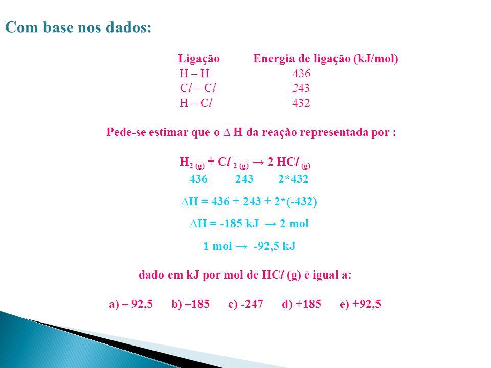 Com base nos dados: Ligação Energia de ligação (kJ/mol) H – H 436