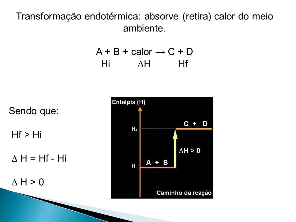 Transformação endotérmica: absorve (retira) calor do meio ambiente