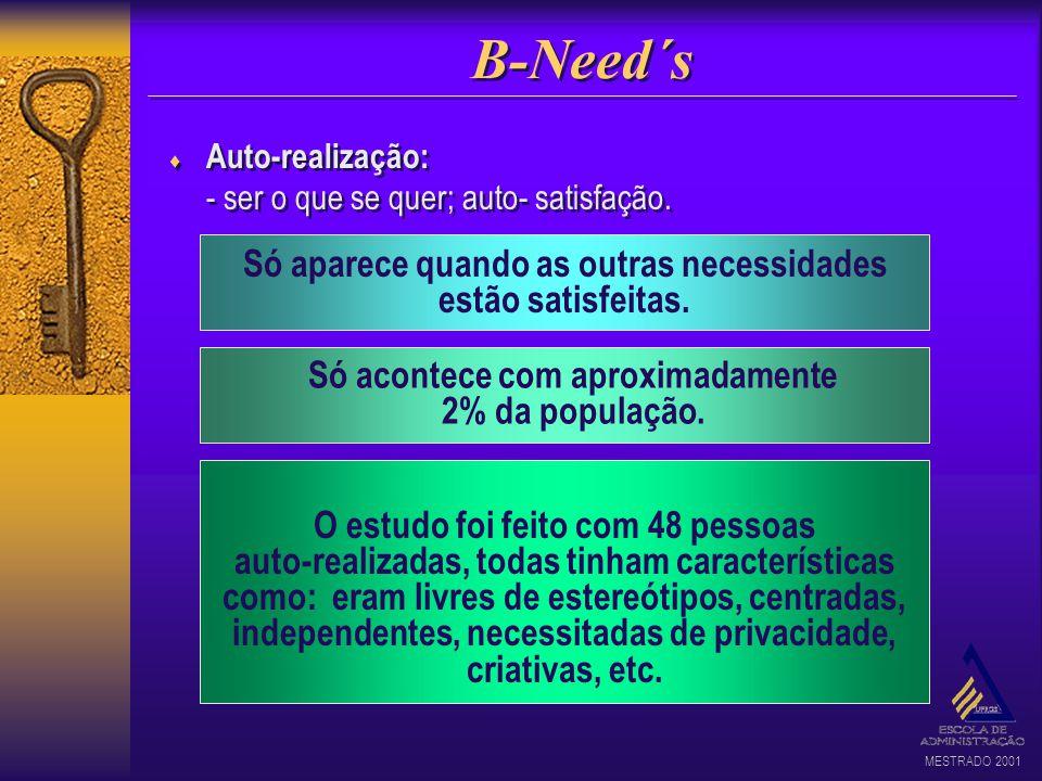 B-Need´s Só aparece quando as outras necessidades estão satisfeitas.