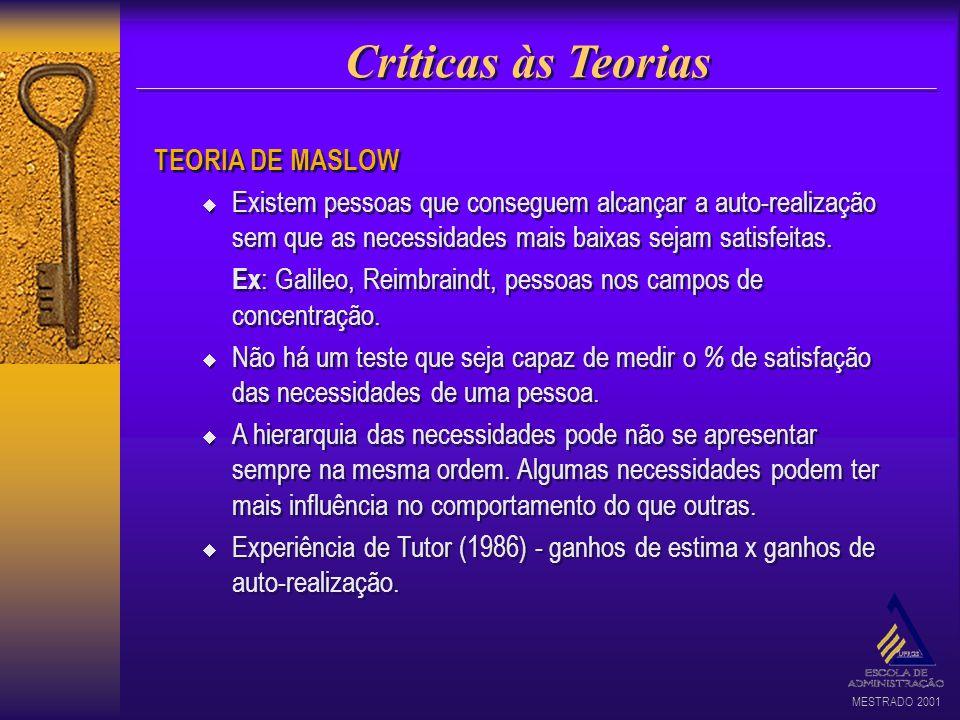 Críticas às Teorias TEORIA DE MASLOW