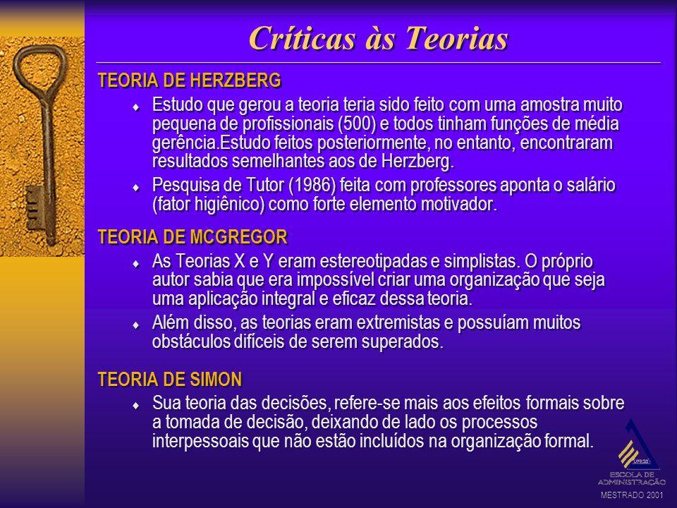 Críticas às Teorias TEORIA DE HERZBERG
