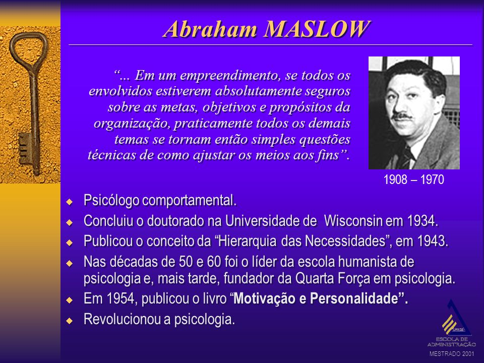 Abraham MASLOW Psicólogo comportamental.