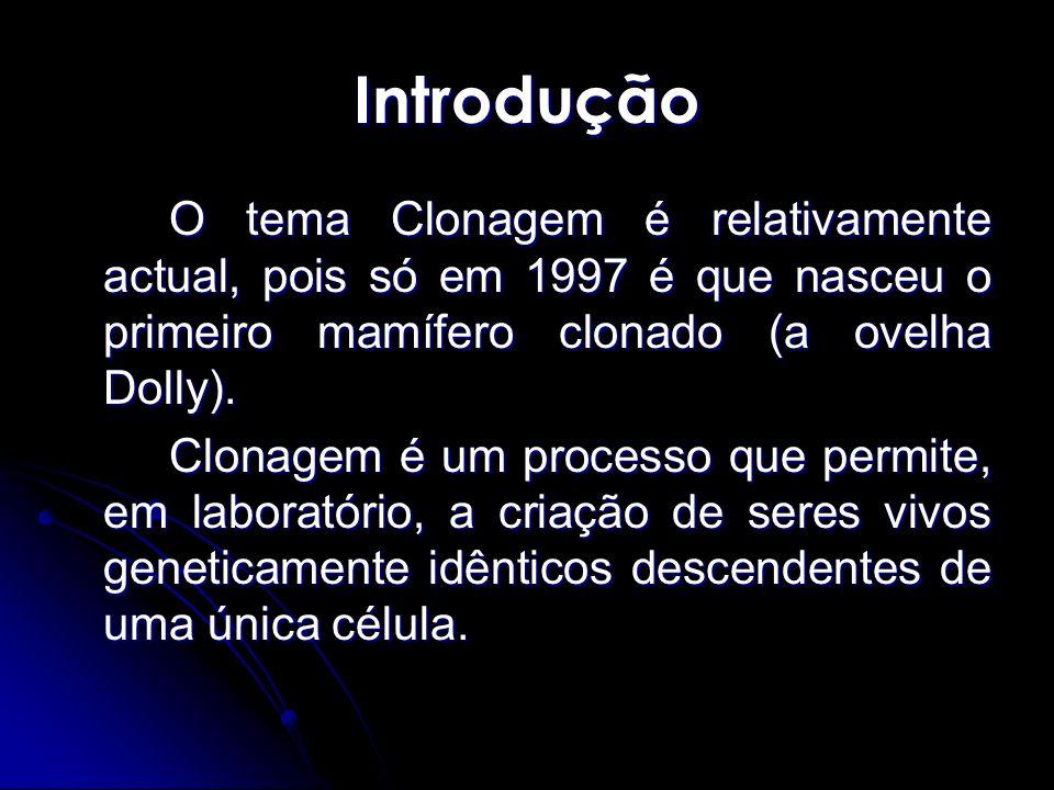 IntroduçãoO tema Clonagem é relativamente actual, pois só em 1997 é que nasceu o primeiro mamífero clonado (a ovelha Dolly).