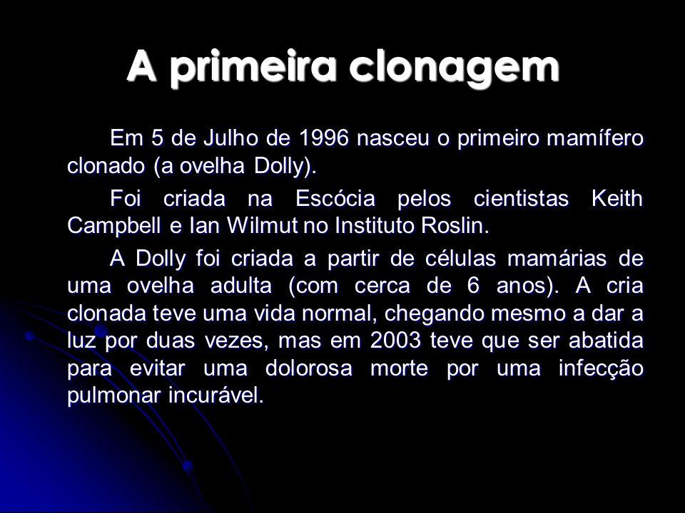 A primeira clonagemEm 5 de Julho de 1996 nasceu o primeiro mamífero clonado (a ovelha Dolly).