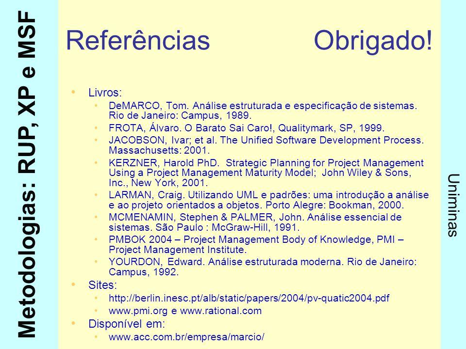 Referências Obrigado! Livros: Sites: Disponível em: