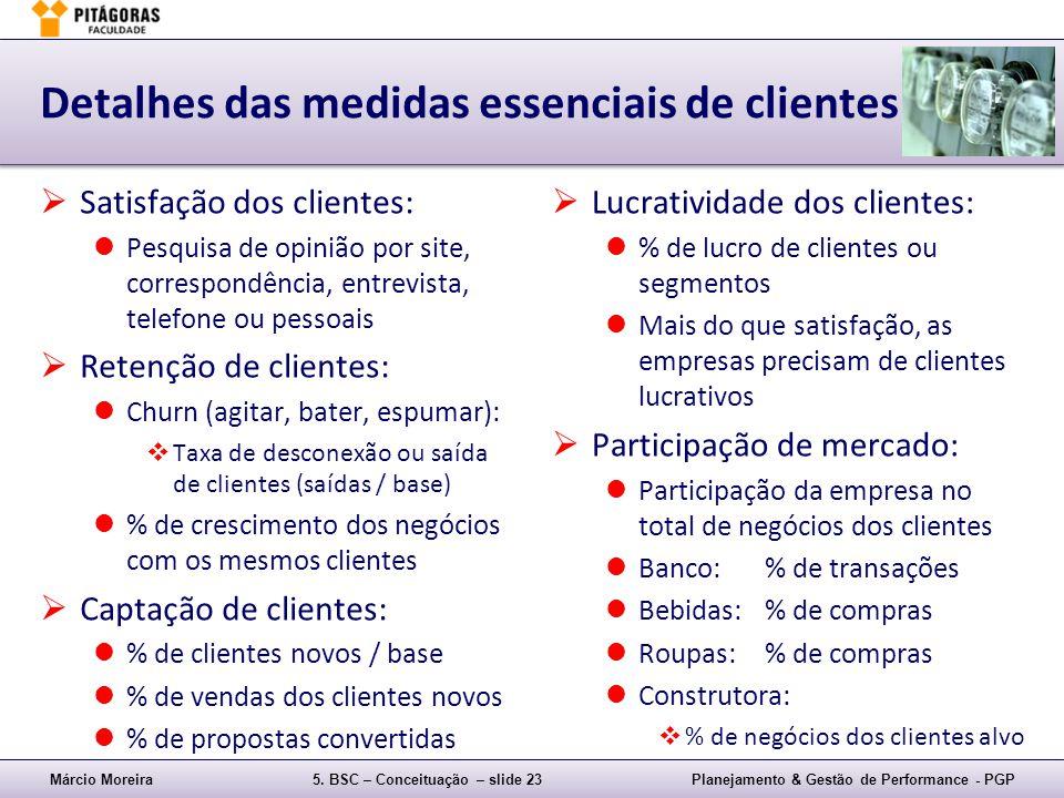 Detalhes das medidas essenciais de clientes