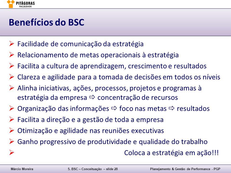 Benefícios do BSC Facilidade de comunicação da estratégia