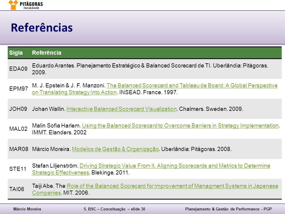 Referências Sigla Referência EDA09