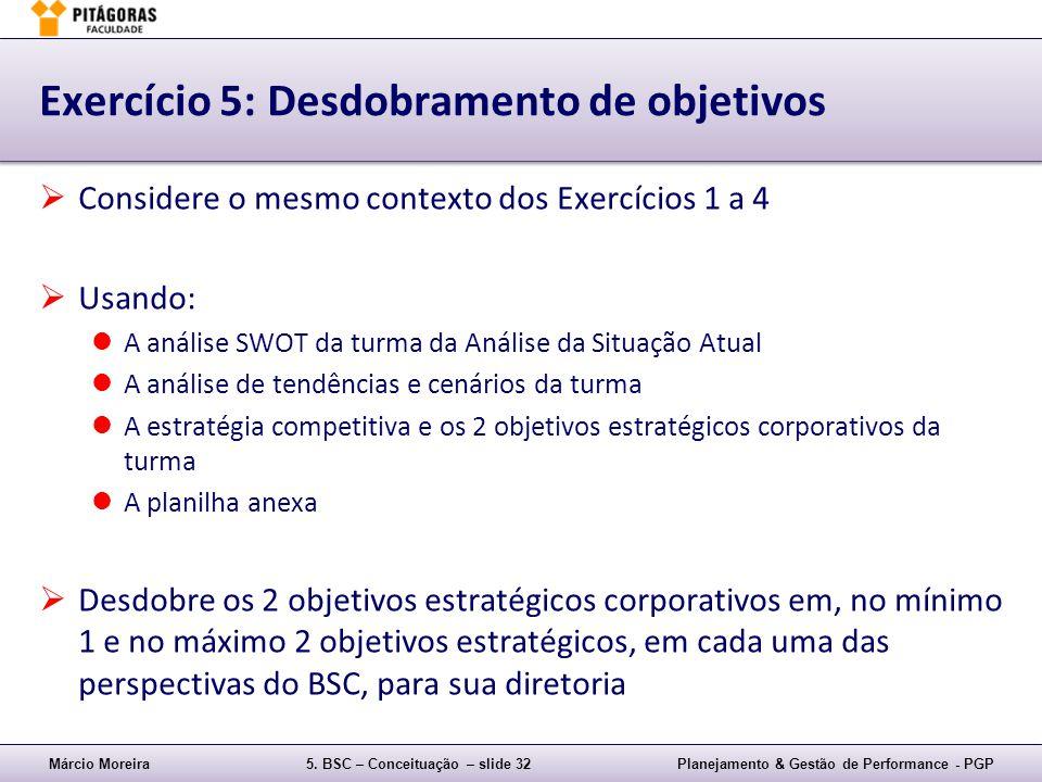 Exercício 5: Desdobramento de objetivos