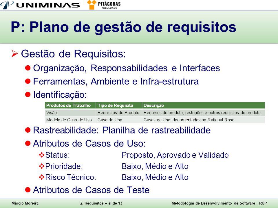 P: Plano de gestão de requisitos