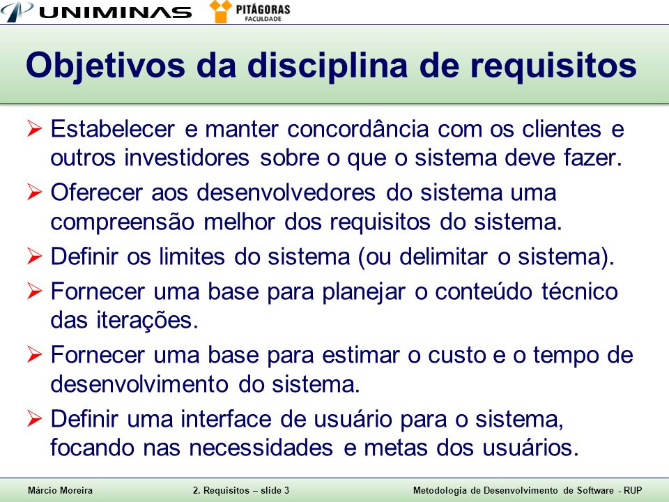 Objetivos da disciplina de requisitos