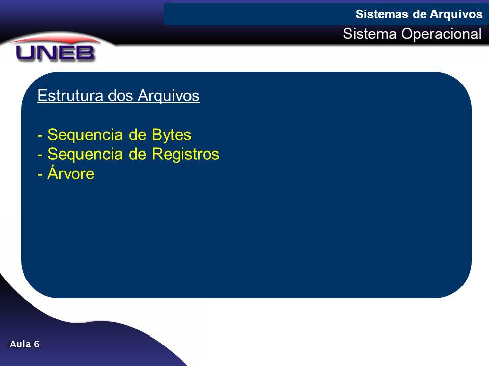 Estrutura dos Arquivos Sequencia de Bytes Sequencia de Registros