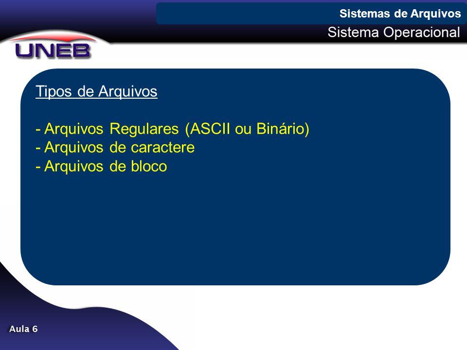 Arquivos Regulares (ASCII ou Binário) Arquivos de caractere