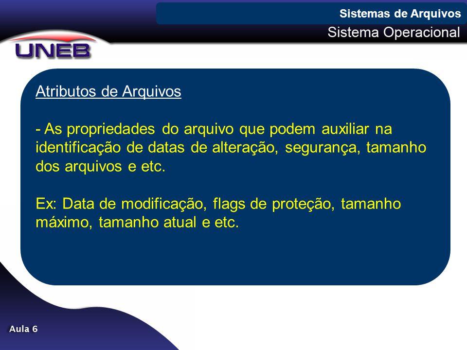 Sistemas de Arquivos Atributos de Arquivos.