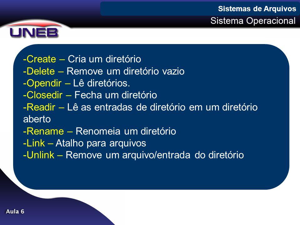Create – Cria um diretório Delete – Remove um diretório vazio