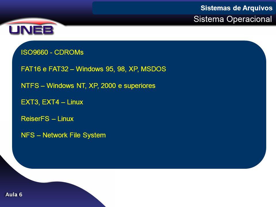 Sistemas de Arquivos ISO9660 - CDROMs. FAT16 e FAT32 – Windows 95, 98, XP, MSDOS. NTFS – Windows NT, XP, 2000 e superiores.