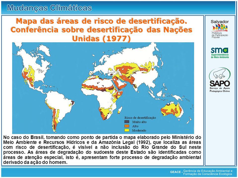 Mapa das áreas de risco de desertificação