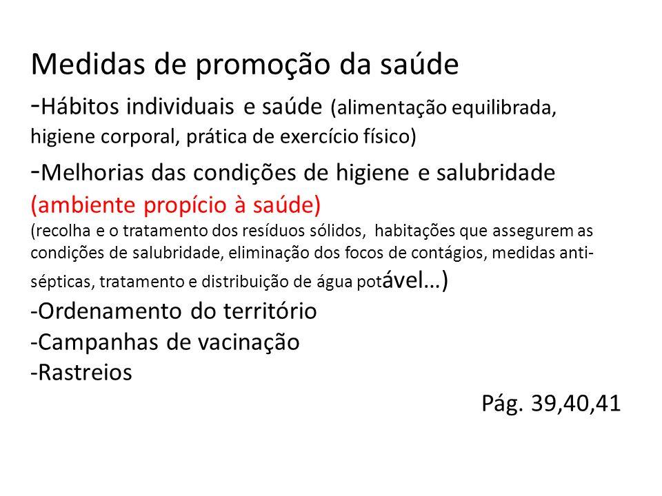 Medidas de promoção da saúde