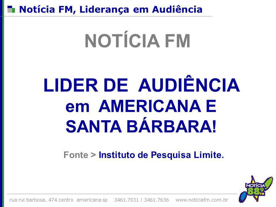NOTÍCIA FM LIDER DE AUDIÊNCIA em AMERICANA E SANTA BÁRBARA!