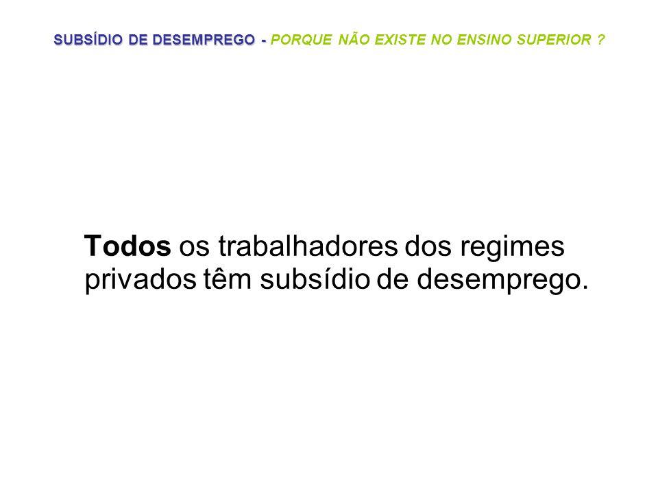SUBSÍDIO DE DESEMPREGO - PORQUE NÃO EXISTE NO ENSINO SUPERIOR