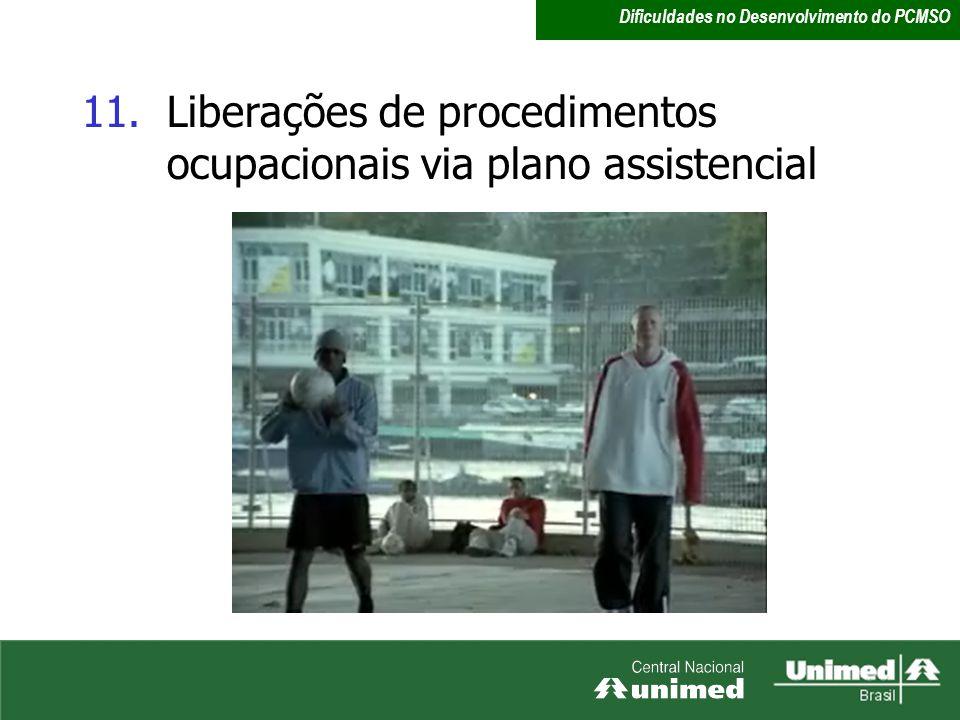 Liberações de procedimentos ocupacionais via plano assistencial