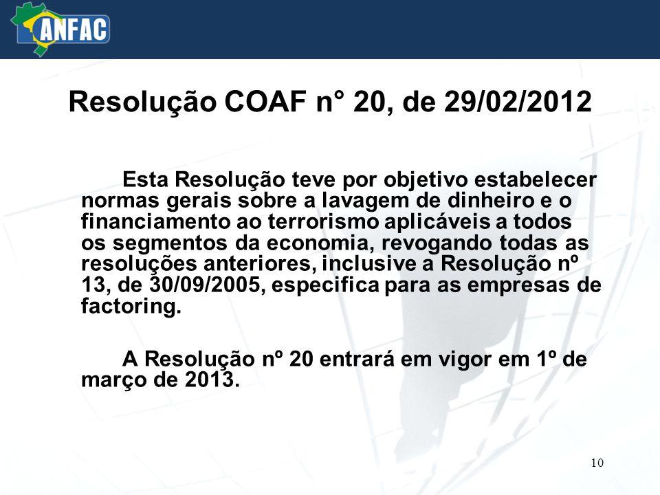 Resolução COAF n° 20, de 29/02/2012