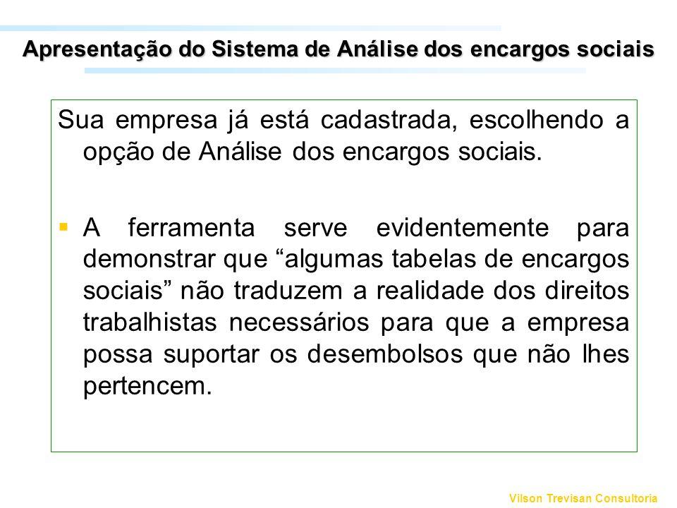 Apresentação do Sistema de Análise dos encargos sociais