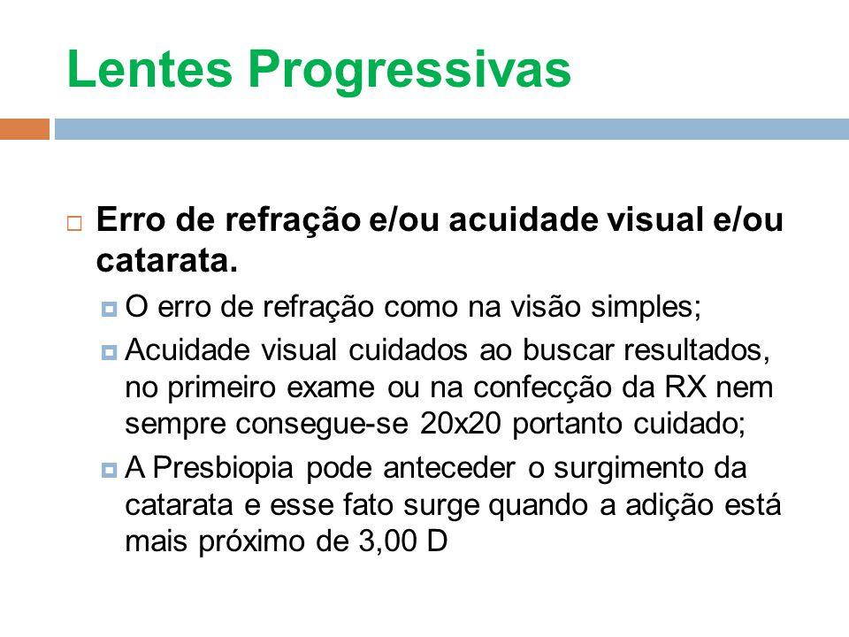Lentes Progressivas Erro de refração e/ou acuidade visual e/ou catarata. O erro de refração como na visão simples;