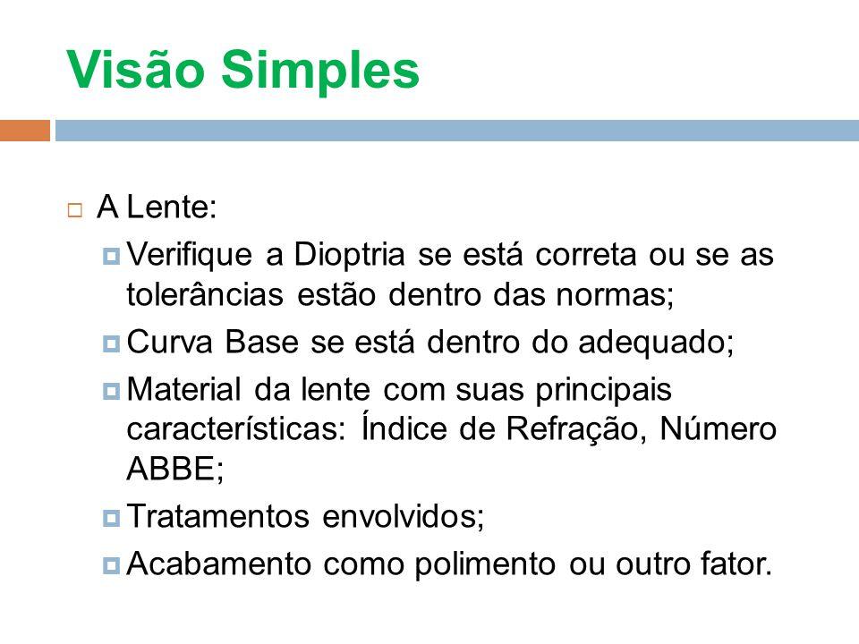 Visão Simples A Lente: Verifique a Dioptria se está correta ou se as tolerâncias estão dentro das normas;