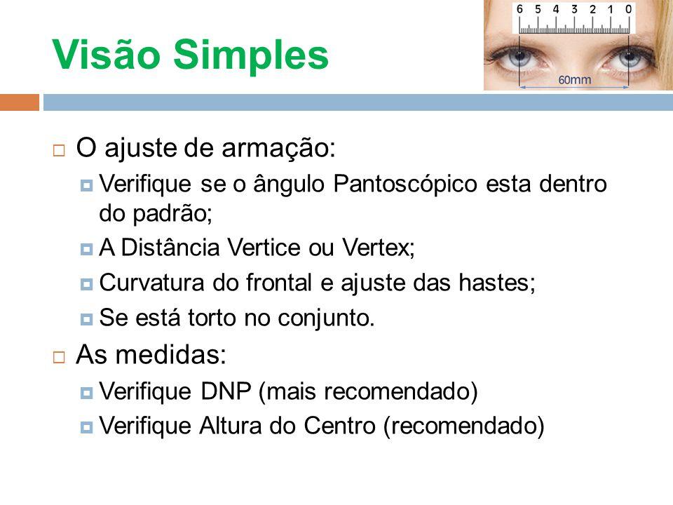 Visão Simples O ajuste de armação: As medidas: