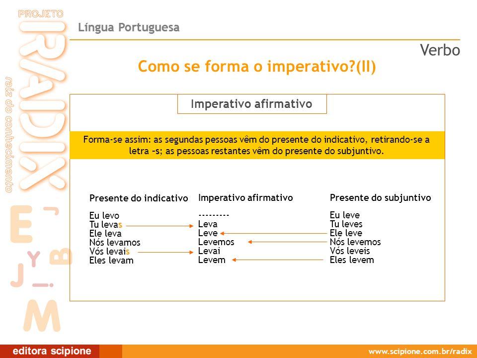 Como se forma o imperativo (II)