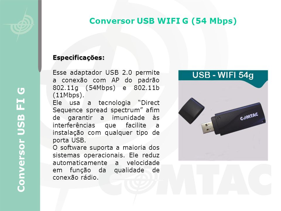 Conversor USB WIFI G (54 Mbps)