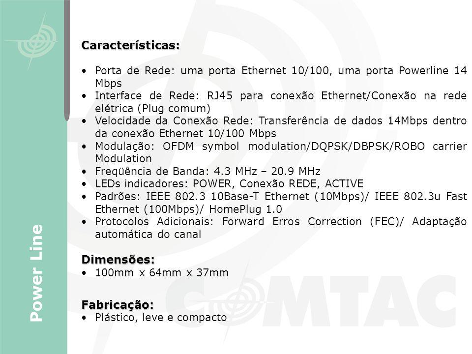 Power Line Características: Dimensões: Fabricação: