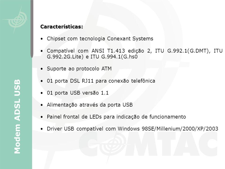 Modem ADSL USB Características: