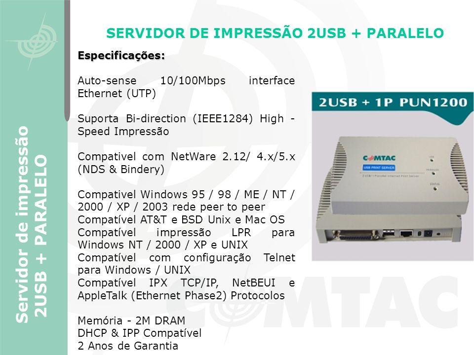 SERVIDOR DE IMPRESSÃO 2USB + PARALELO