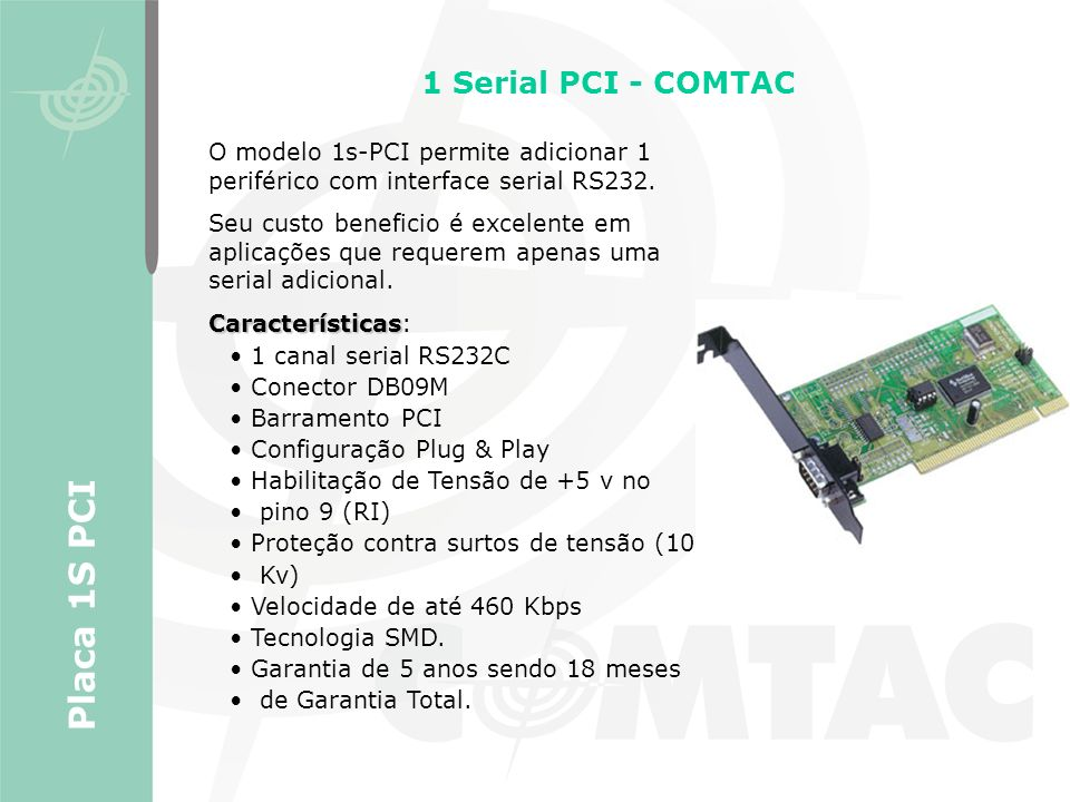 Placa 1S PCI 1 Serial PCI - COMTAC