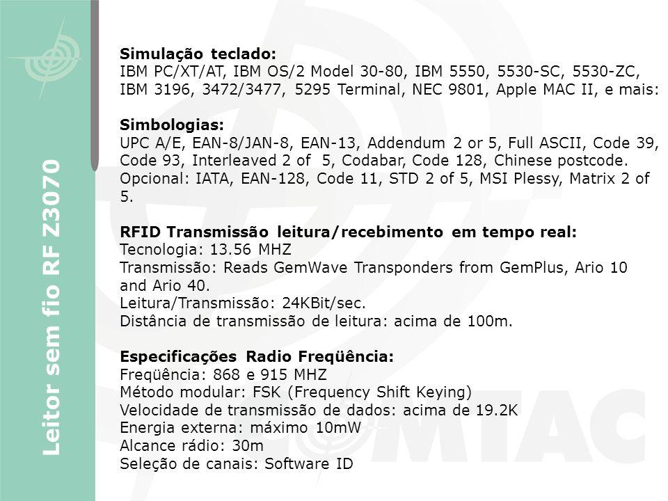 Leitor sem fio RF Z3070 Simulação teclado: