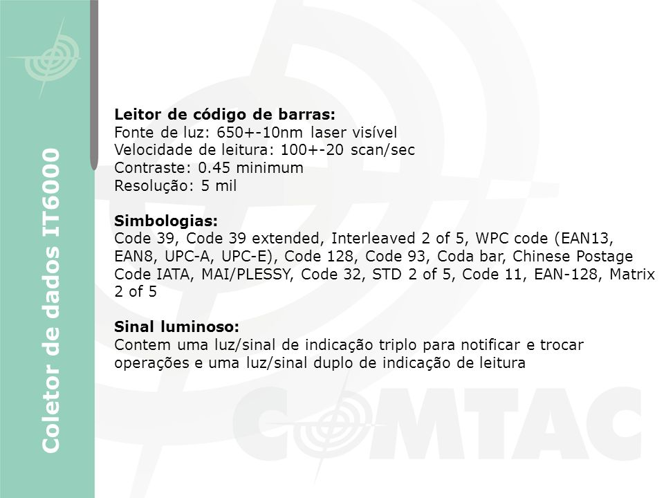 Coletor de dados IT6000 Leitor de código de barras:
