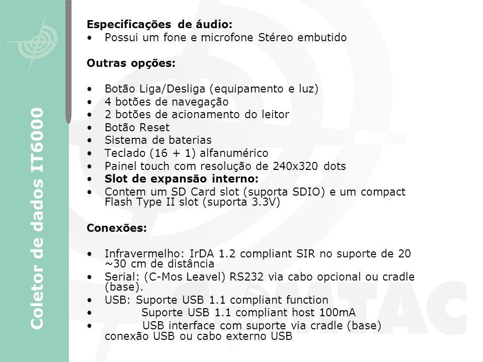 Coletor de dados IT6000 Especificações de áudio:
