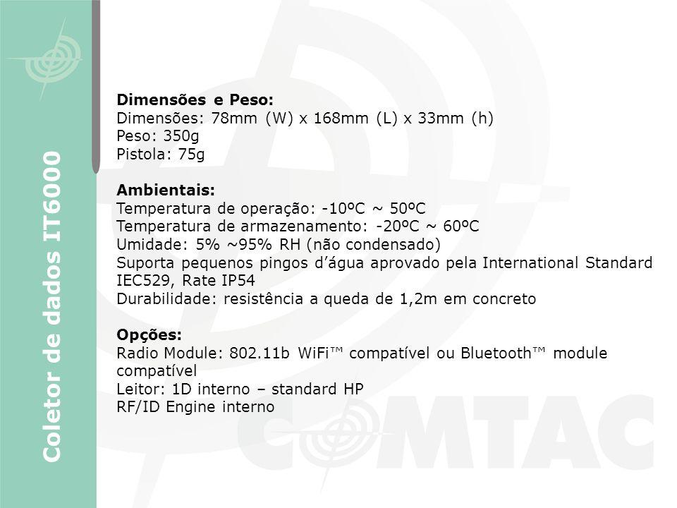 Coletor de dados IT6000 Dimensões e Peso: