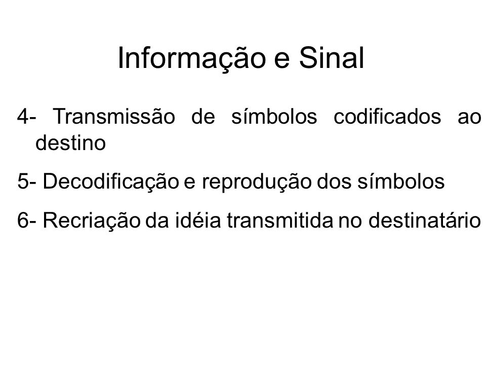 Informação e Sinal 4- Transmissão de símbolos codificados ao destino