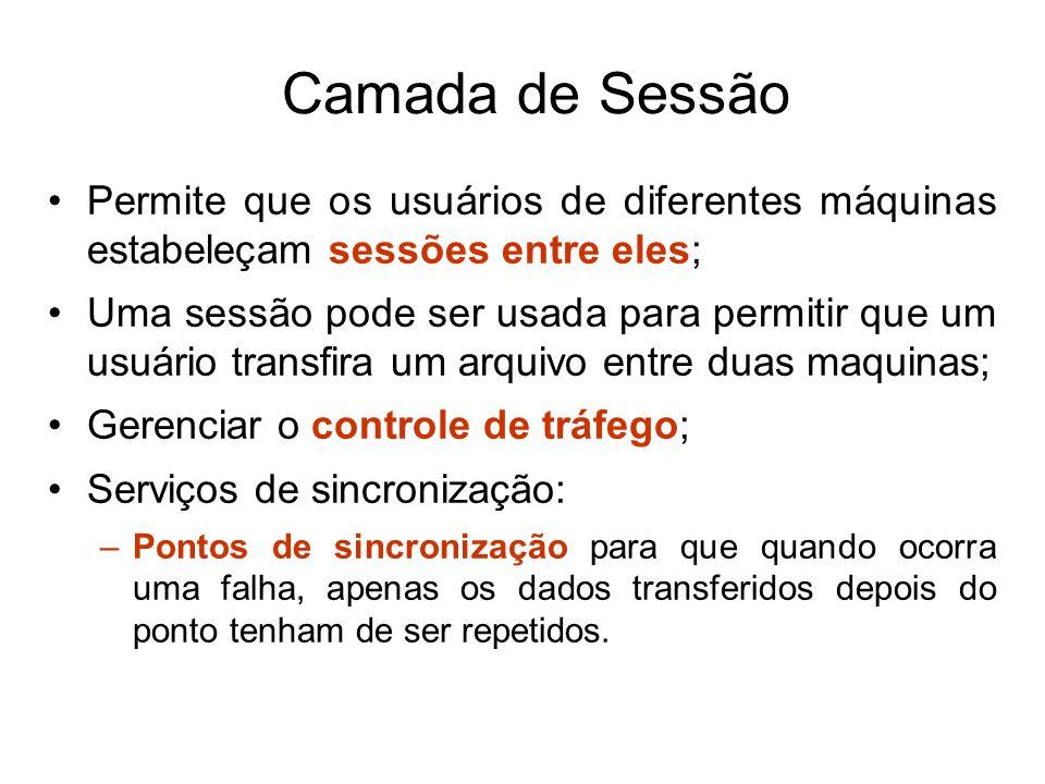 Camada de Sessão Permite que os usuários de diferentes máquinas estabeleçam sessões entre eles;