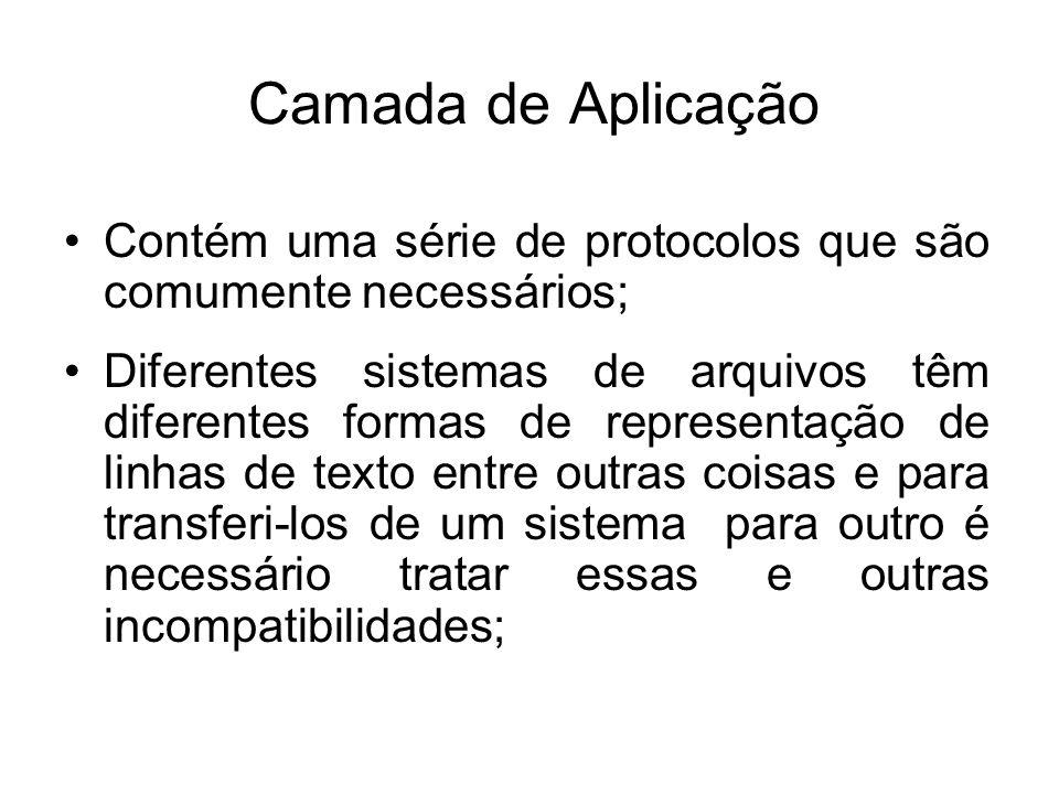 Camada de Aplicação Contém uma série de protocolos que são comumente necessários;