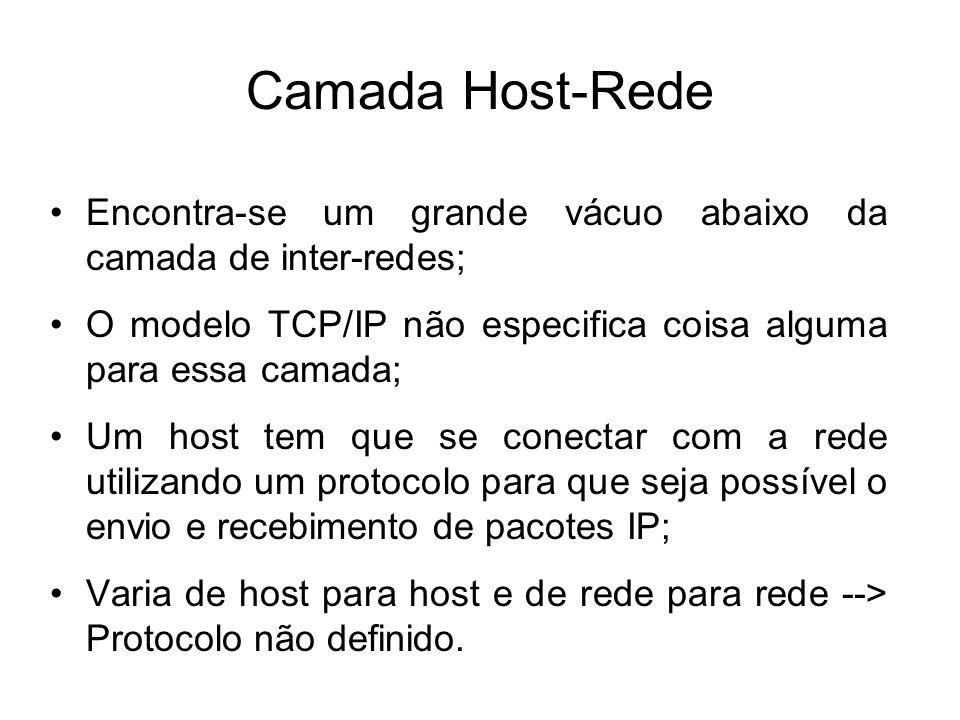Camada Host-Rede Encontra-se um grande vácuo abaixo da camada de inter-redes; O modelo TCP/IP não especifica coisa alguma para essa camada;