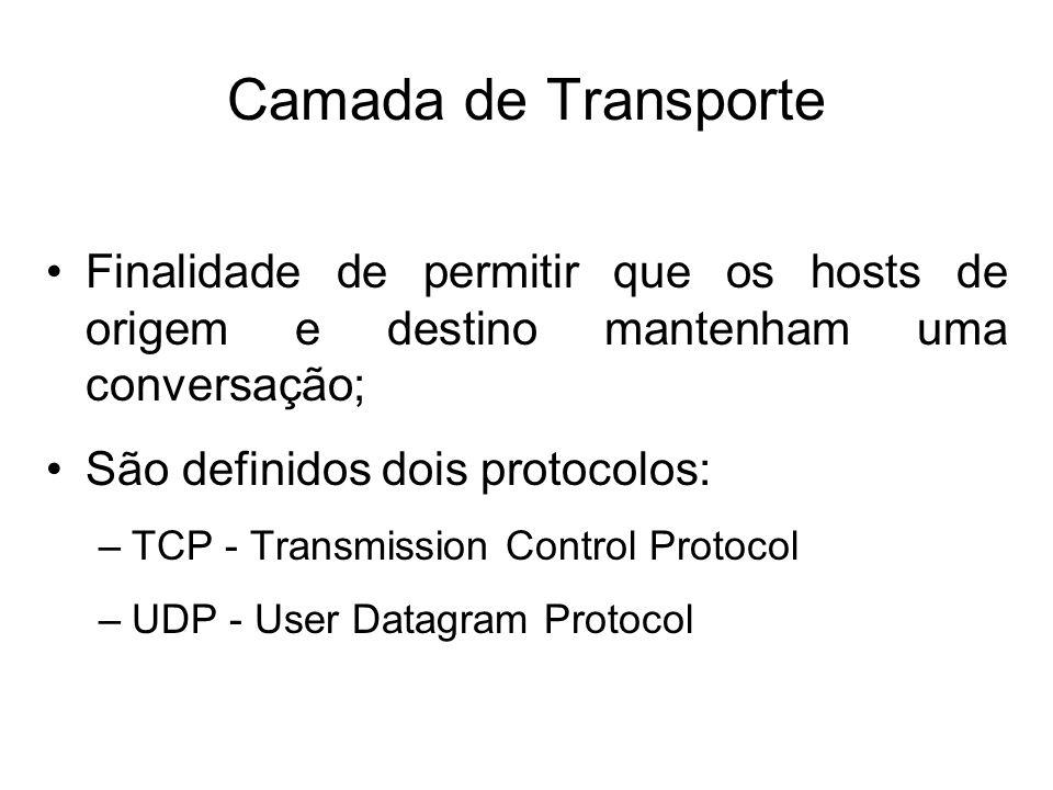 Camada de Transporte Finalidade de permitir que os hosts de origem e destino mantenham uma conversação;