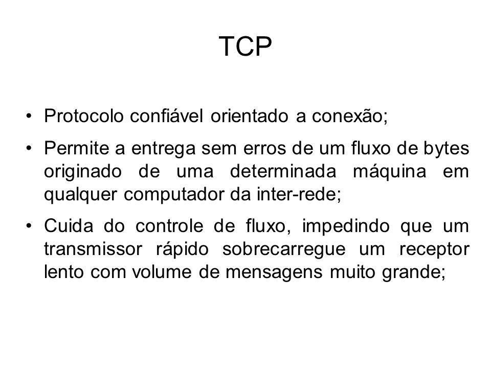 TCP Protocolo confiável orientado a conexão;